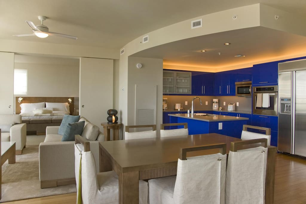 The Suite features a fully equipped kitchen, washer/dryer and expanded living/dining area