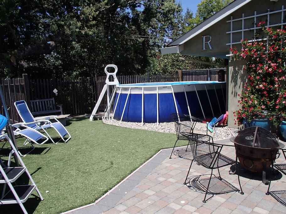 Seasonal (June-Sept) solar heated above ground swimming pool with removable ladder for safety.  Avg summer temp 89*F    18'x12' with 46'' water depth.