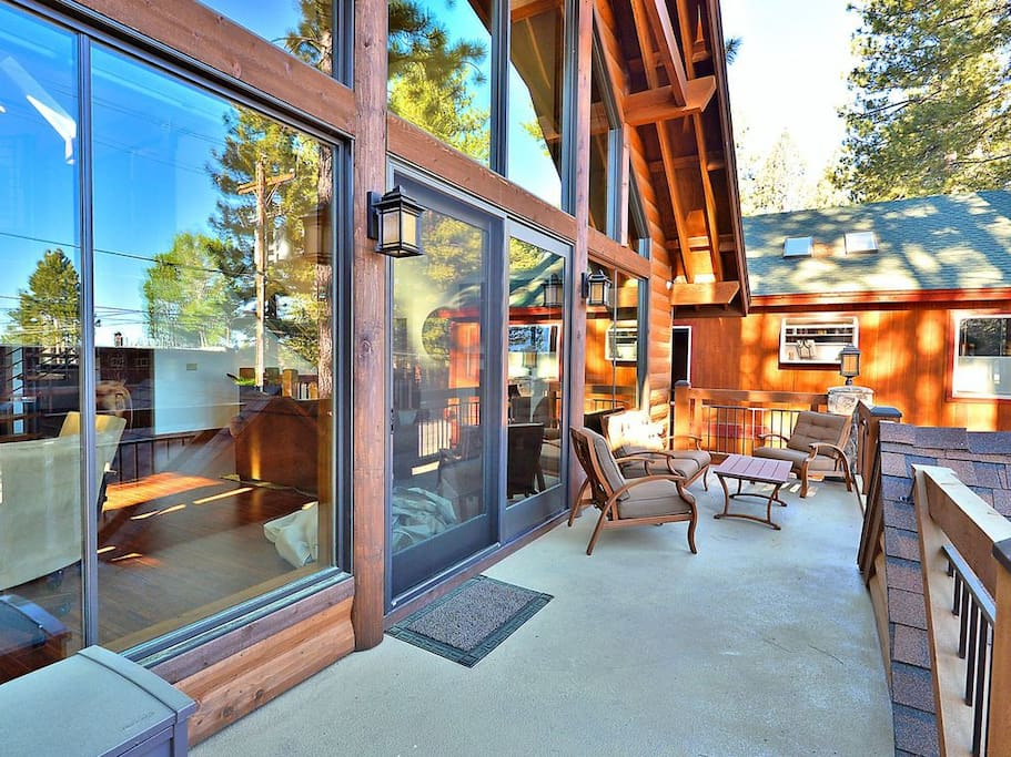 Sip morning coffee on the 2nd-story deck, outfitted with a comfy seating area.