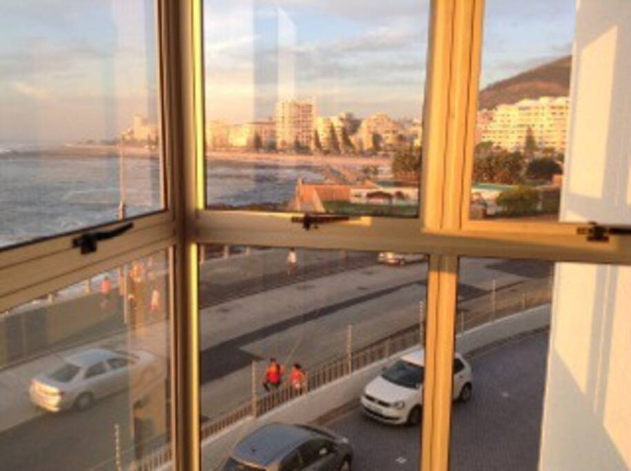 Overlooking Sea Point promenade and pools.