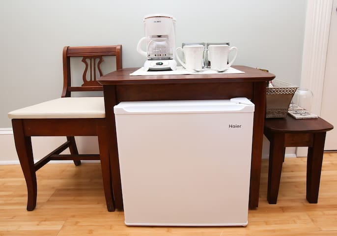 Your room features a fridge, coffeepot, crock pot, iPod player, white noise machine, and fan, as well as cable TV and wireless internet. Access to laundry available upon request.