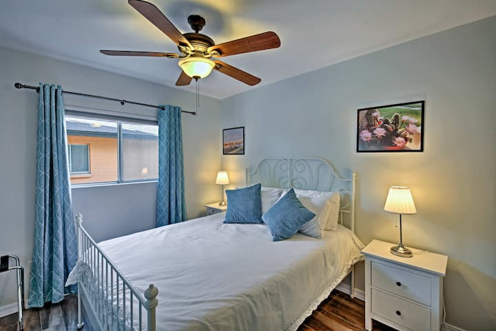 A touch of blue decor enhances this third queen bedroom.