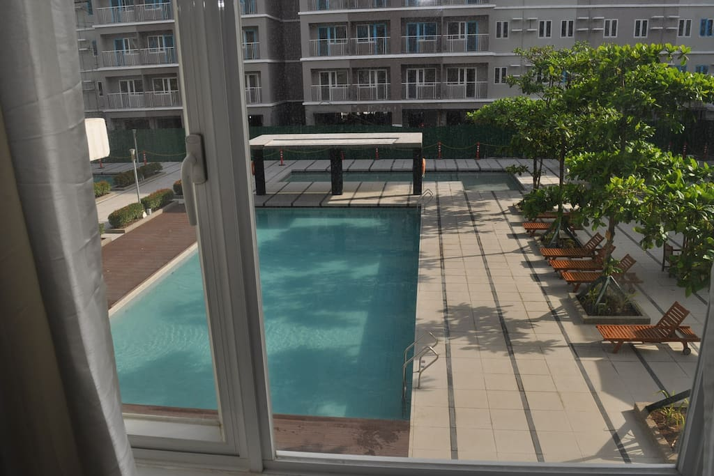 Swimming pool outside the window