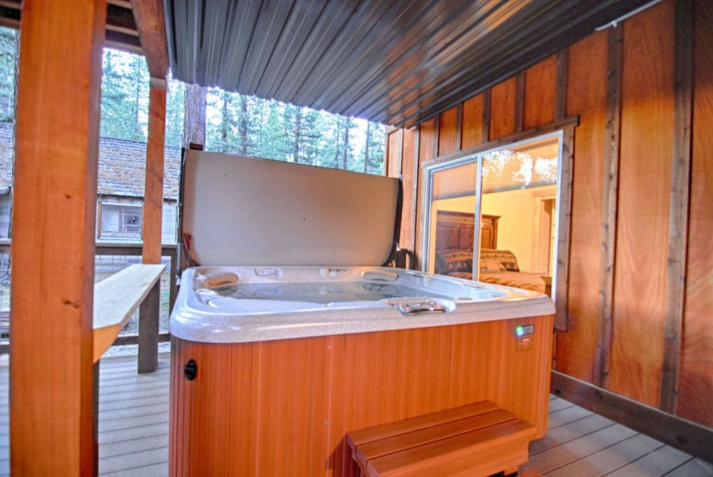 View of the hot tub (salt water) on lower back deck