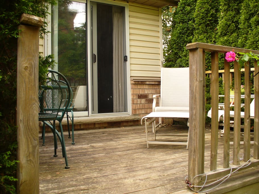 Back deck is available for relaxing.