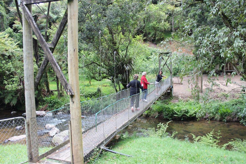 Swing bridge to Barn