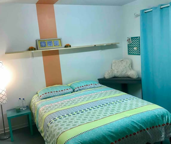 Bedroom 2: Quaint room with comfy, Queen-size bed.