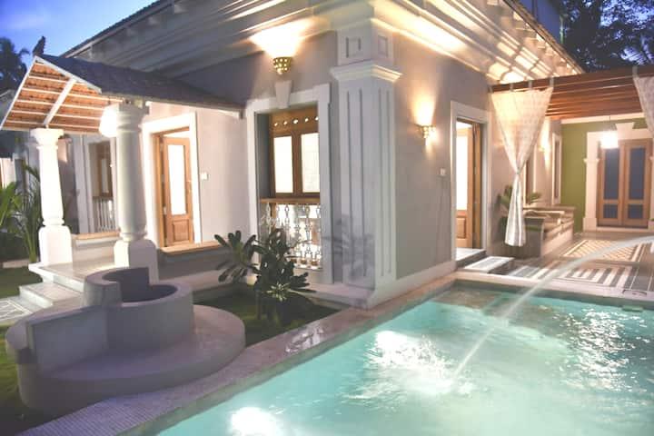 Luxe House w private pool Baga wifi Bbq Nr Beach