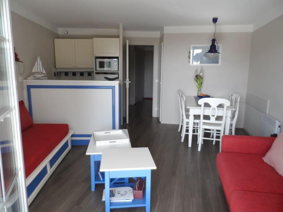 grand séjour avec cuisine ouverte 2 canapés
