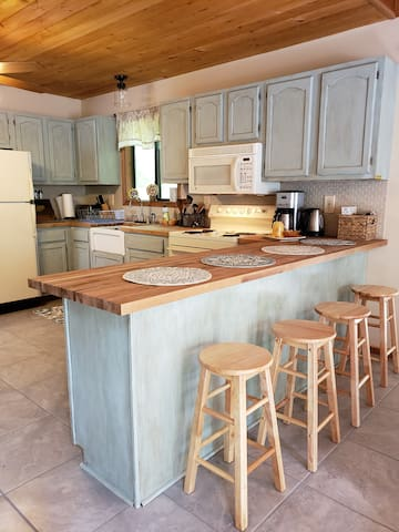 Kitchen area has additional seating