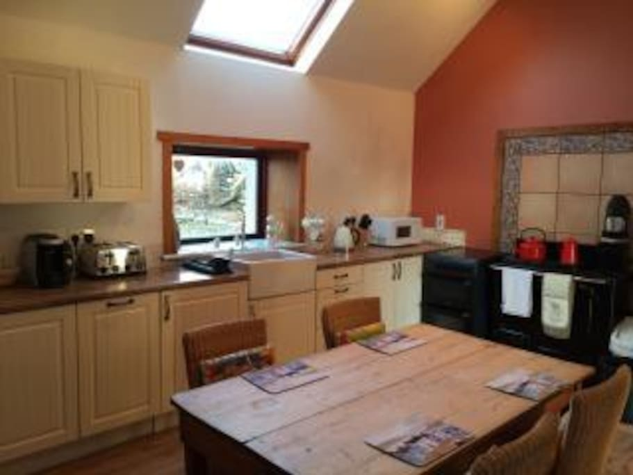 Large kitchen, part of the original croft!