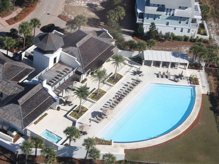 Ariel view of Cypress Dunes Pool, Exercise Gym, & Club House