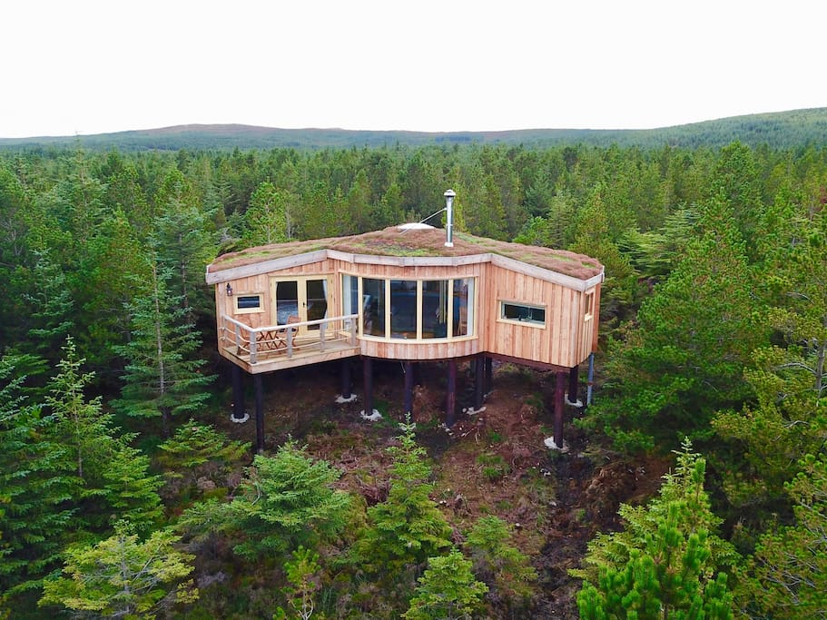 Secluded forest treehouse looking out over the treetops