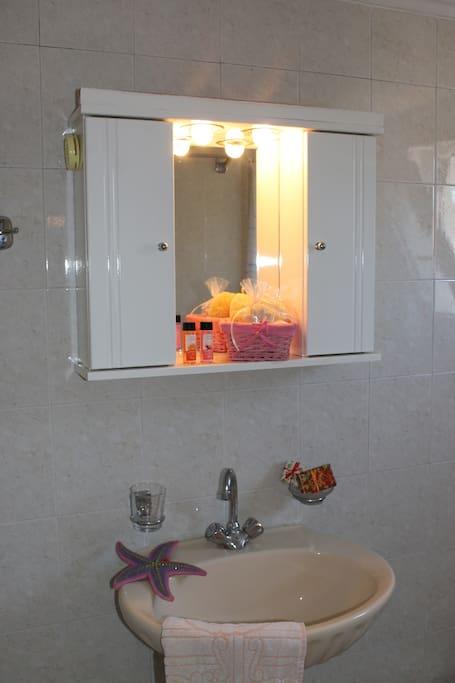 Τwo small identical bathrooms with shower.