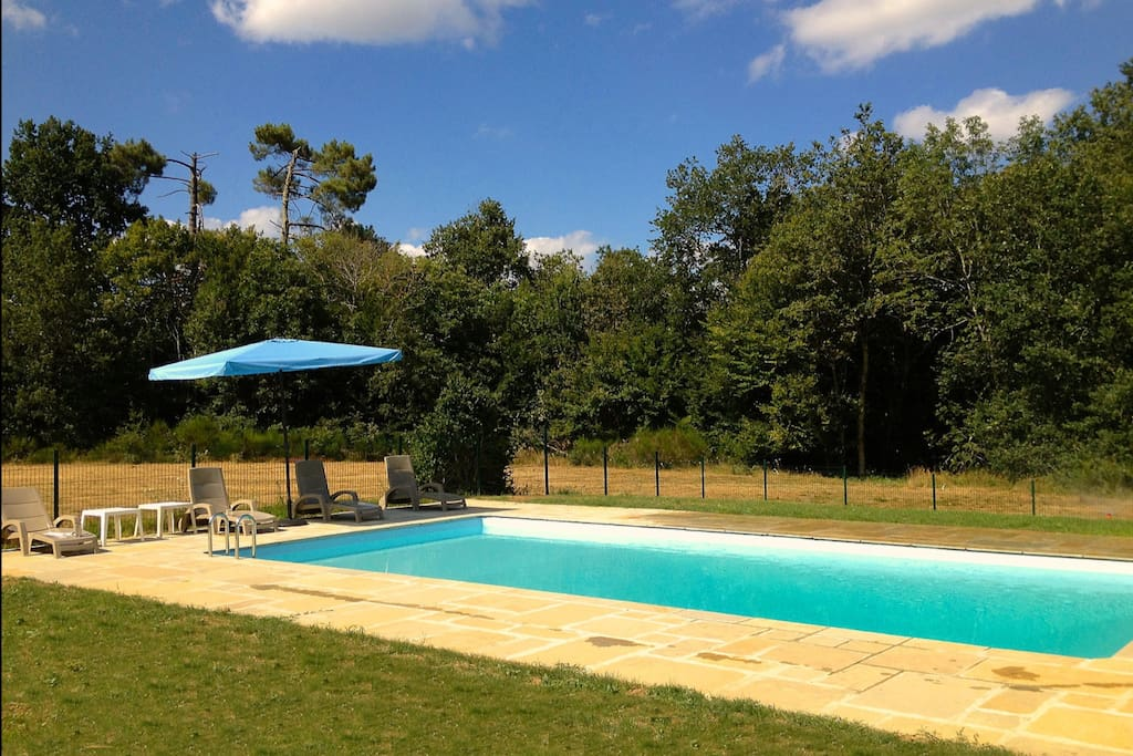 Pool set in the lush dordogne country side