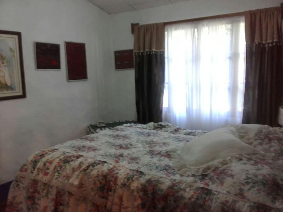 Habitacion cama doble con paisaje y muebles antiguos