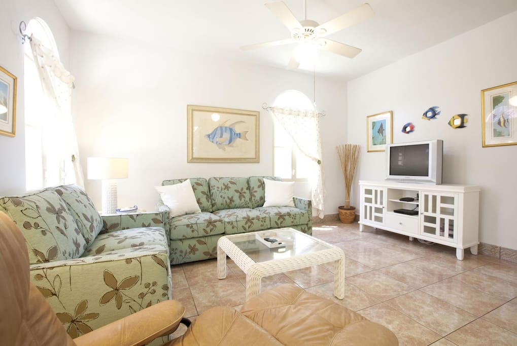 TV ROOM WITH CABLE TV AND A PULL OUT QUEEN SLEEP SOFA