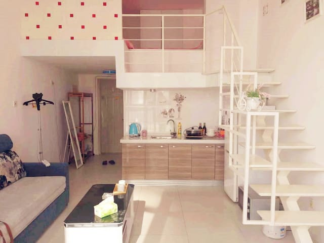 【民宿】天津站后广场 黄金地段【近地铁站!】LOFT公寓阳光住宅,小清新风格式装修。