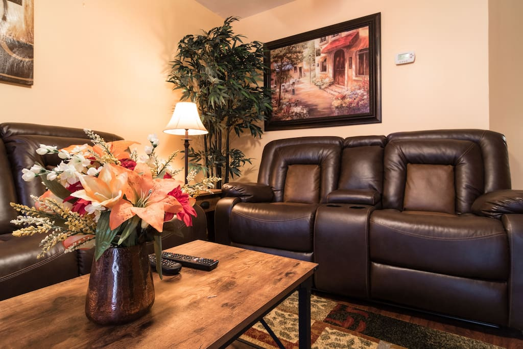 Living Room with leather recliner sofas.