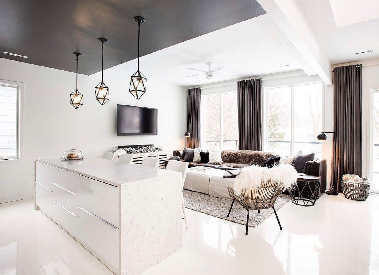 Living room and kitchen island
