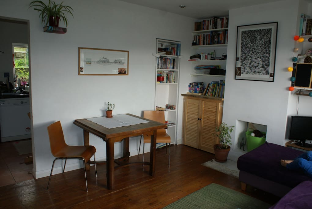 Front room with dining table that extends