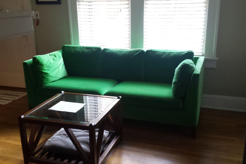 Green couch!