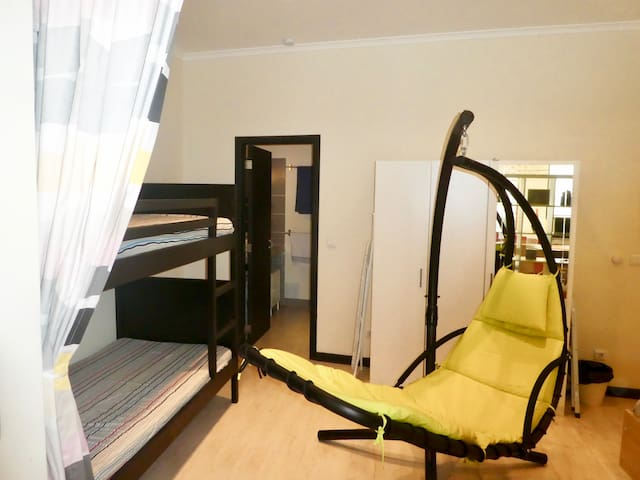 Other side of the bedroom, showing the bunk beds