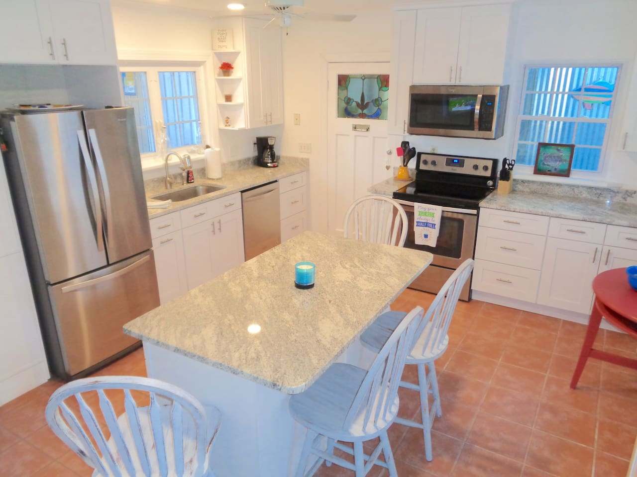 Totally renovated kitchen with everything you could need for meals in!