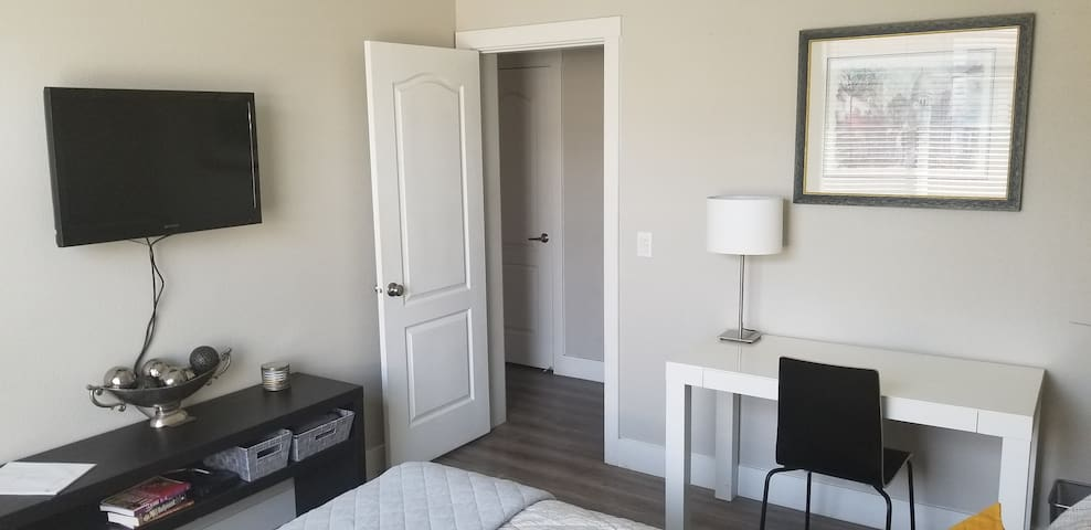 Plenty of space for two.  Desk, WiFi, Cable.  In-room mini fridge, and coffee maker.