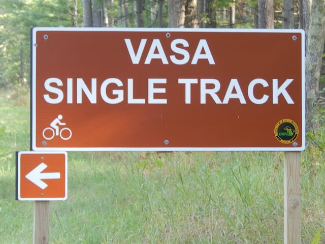 Vasa Single Track Trailhead only 2.5 miles, by car, from property