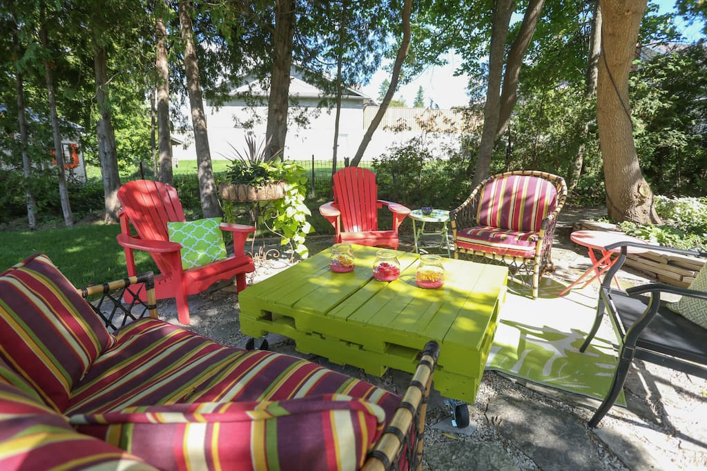Guests can enjoy our beautiful back yard.