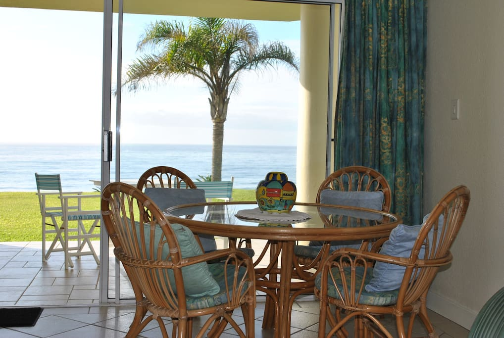 From the dining area to the patio (and the sea!)