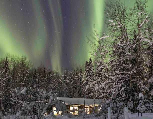 Looking north at the aurora....cottage is in foreground with lights on.
