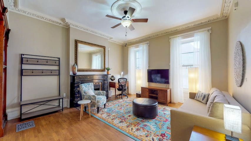 Grand Historic Details-King Bed-Downtown Troy