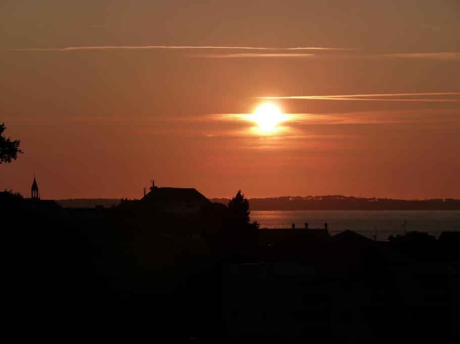 coucher du soleil du balcon