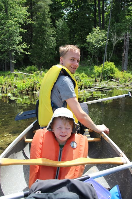 Guests exploring beaver hutches in Canoe