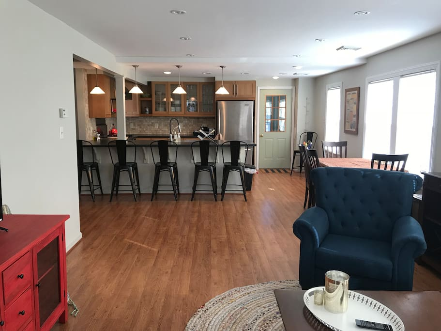 Downstairs is open concept, great for groups or families