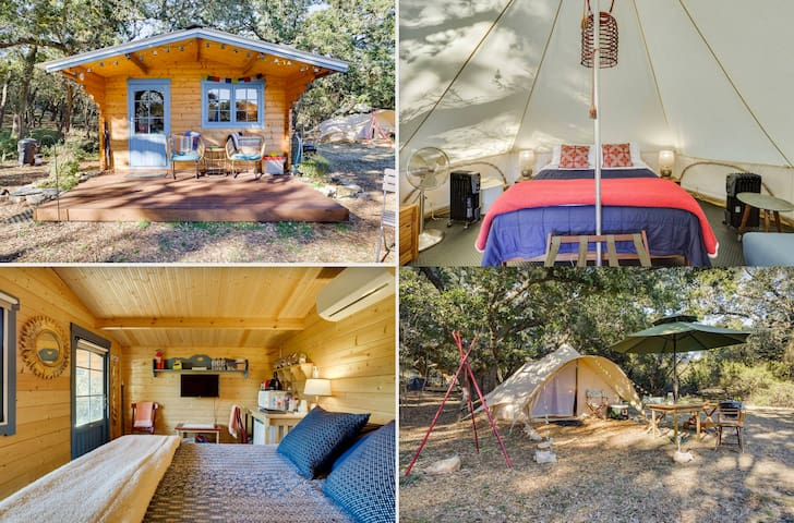 A Cabin–Tent Duet •  Your Fresh Air Glamping Oasis