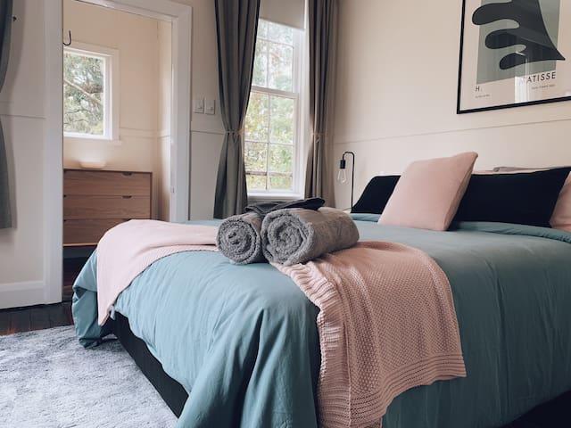 Bedroom one, queen bed.