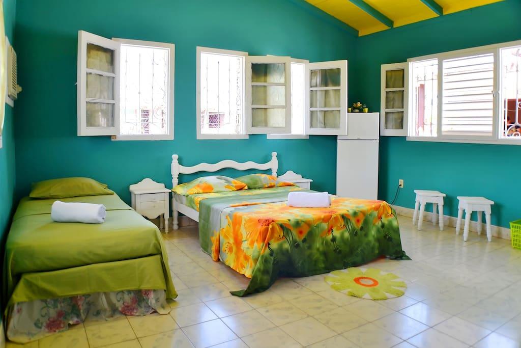 Habitación verde en el Hostal Sabor Cubano.