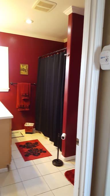 Clean, bright, large bathroom