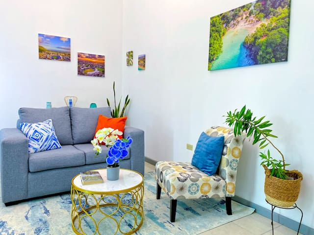 Our Caribbean themed living room will make you feel right at home