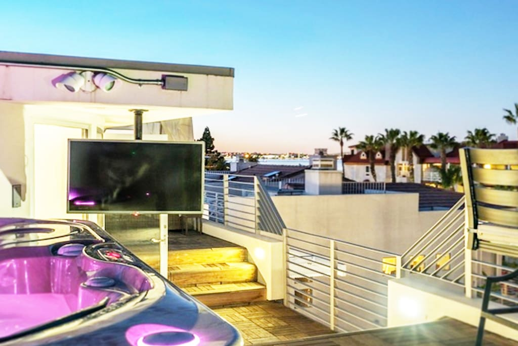 Rooftop viewing deck and spa.