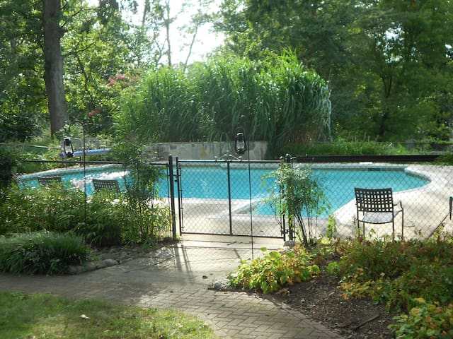 Fenced pool area.  Swimming from June through September!