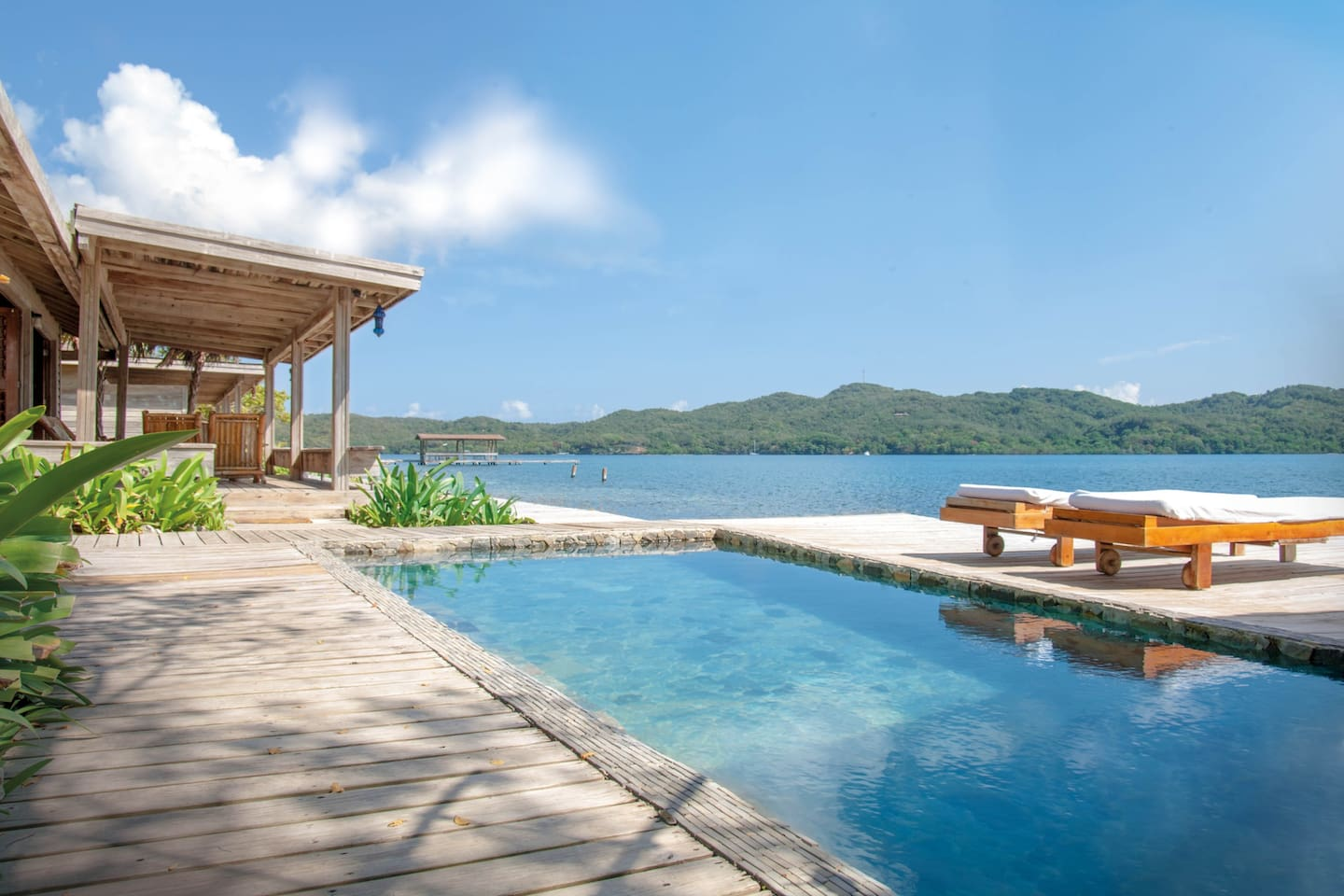 Pool and deck on our private island