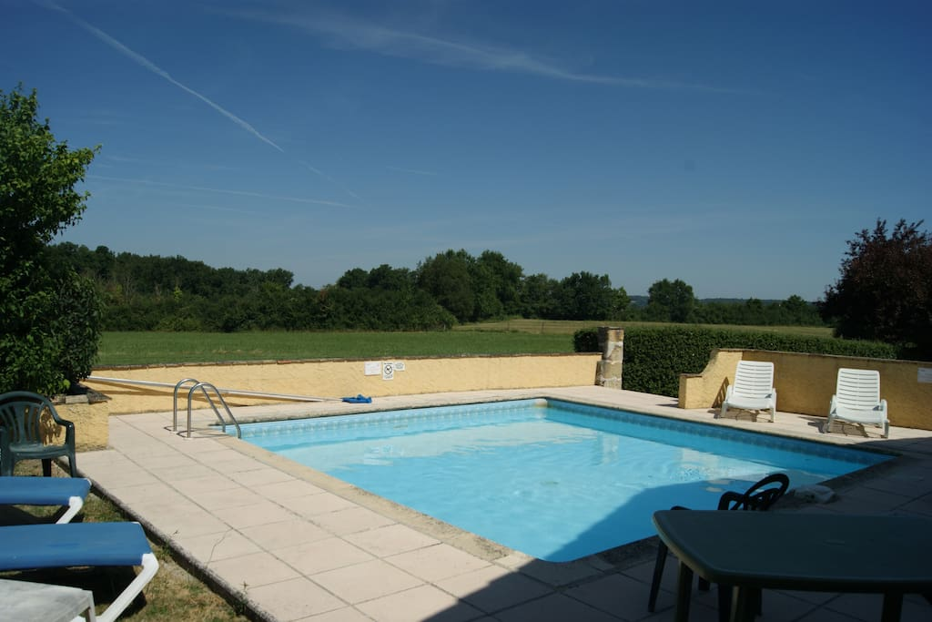 One of the pools overlooking the fields that are part of the property