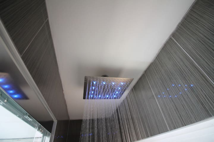Private shower.