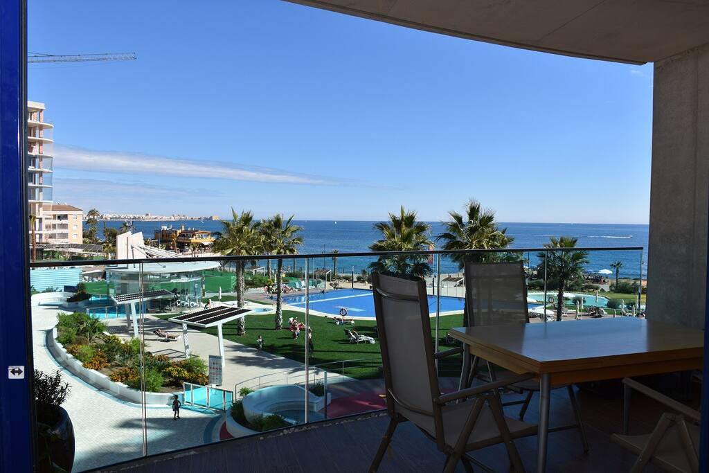 Uitzicht op het resort