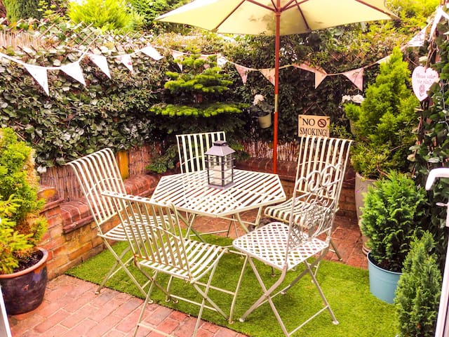 Socialise and relax in the private patio garden