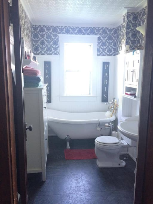 only one booking at a time so Bathroom is private for your stay with us Bathroom with hand held shower tap